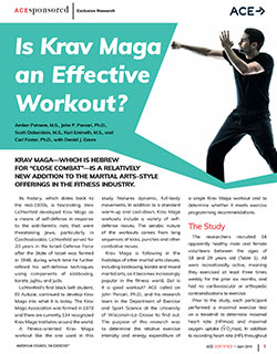 Ace Certified April 2019 Ace Sponsored Research Is Krav Maga An Effective Workout