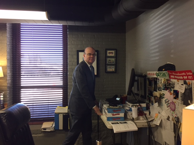 Representative Jim McGovern joined his staff in competing in the 2017 Congressional Fitness Challenge. Team McGovern was able to get in extra steps with their standing treadmill desks, pictured above, as well as through other fun fitness challenges like plank contests, charity walks and bike rides.