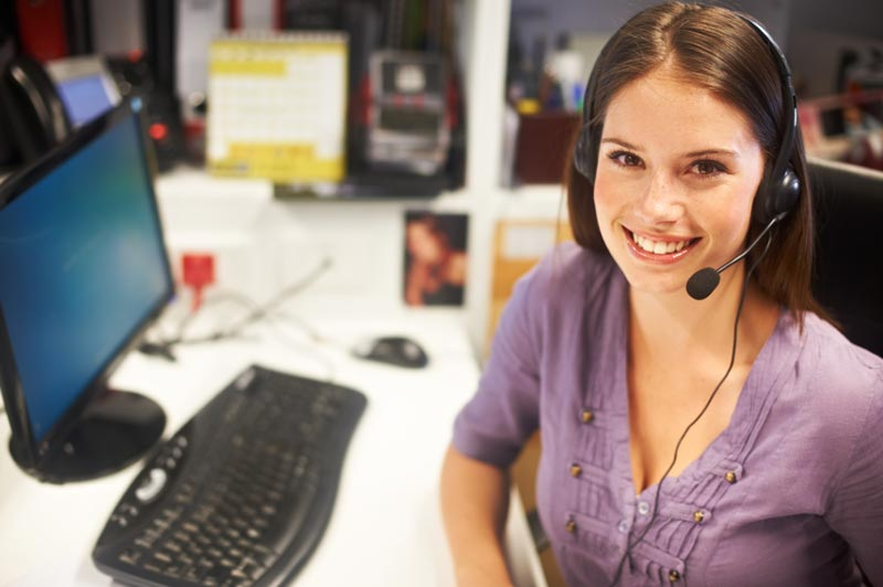 Woman at call center