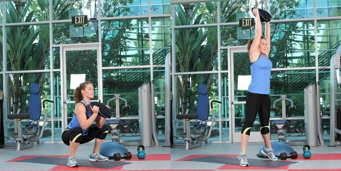 Squat thrust with sandbell slam