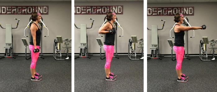 Drag curl to front press