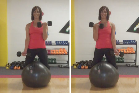 Standing Ball Squeeze With Biceps Curl