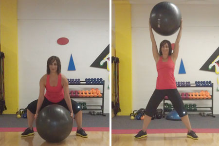 Squat to Ball Overhead