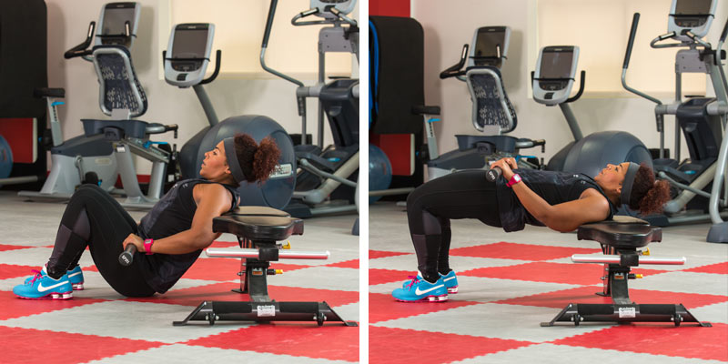 Weight bench hip extension