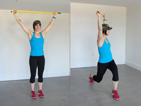 Lunge with overhead twist