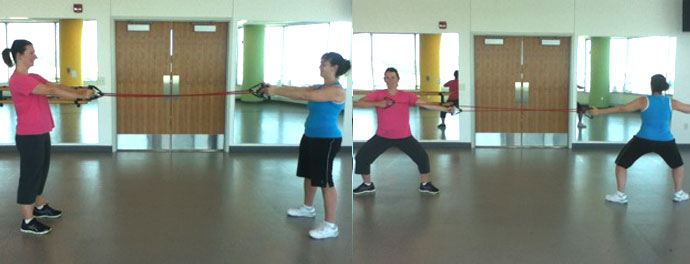 Plie squat with bow and arrow
