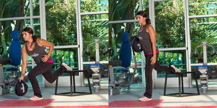 Sandbell Rear-foot Elevated Split Squat with Single-arm Row