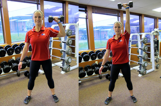 Squat with Single-arm Dumbbell Press