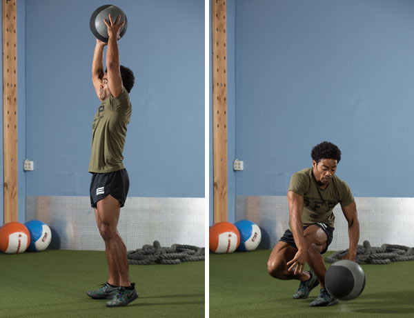 Rotational medicine ball slam