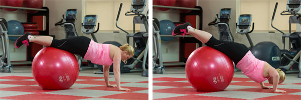 Push up on stability ball
