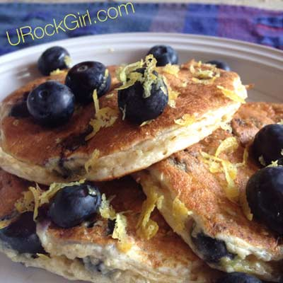 Blueberry Lemon Protein Pancakes