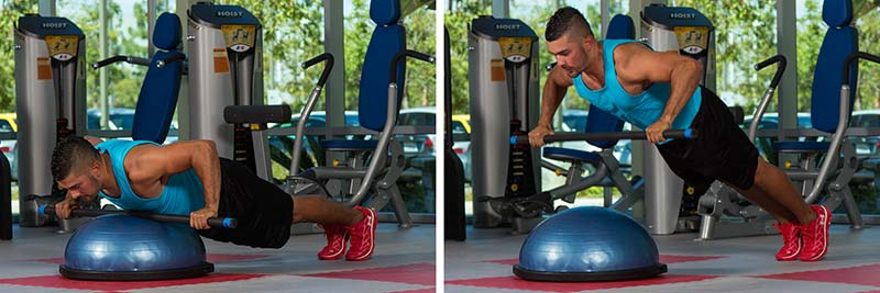 Explosive Push-up (with weighted bar on BOSU dome)
