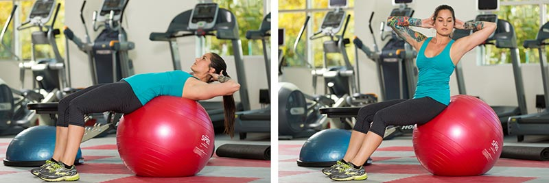 Stability Ball Crunch with Twist