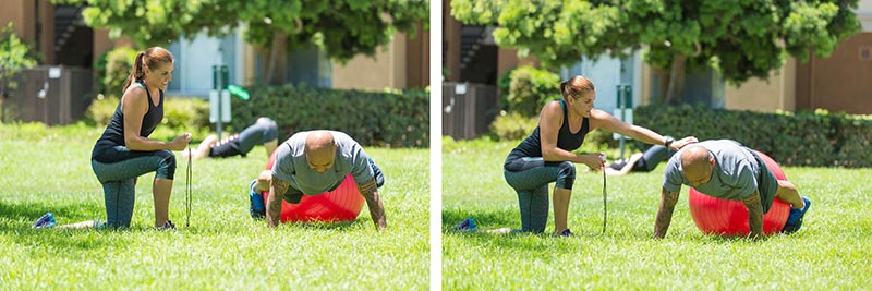 Stability ball Plank Hip Rotations