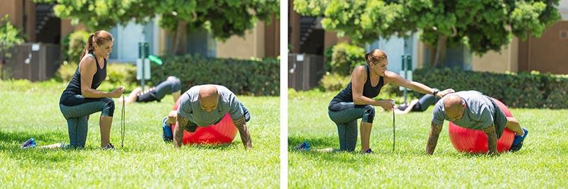 Rotation des hanches sur le ballon de stabilité