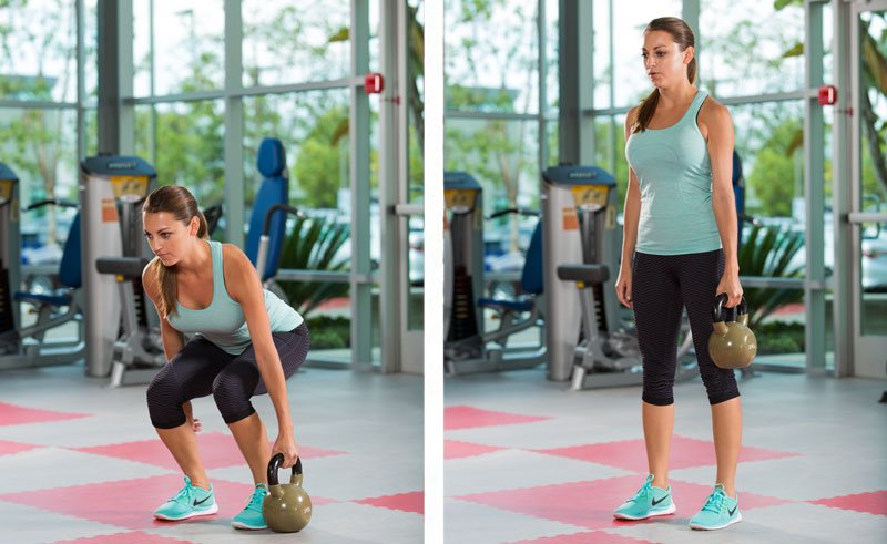 kettlebell suitcase deadlift