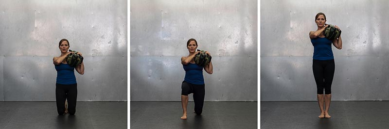 Up/Downs Shouldering the Bag With Alternating Legs