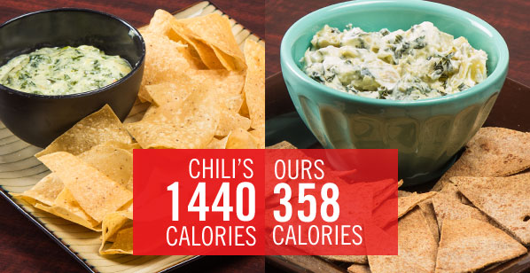 Chain Restaurant Favorites Get A Healthy Makeover: Chili's Spinach and Artichoke Dip With Chips