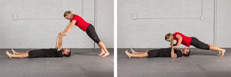 Partner lying push-ups
