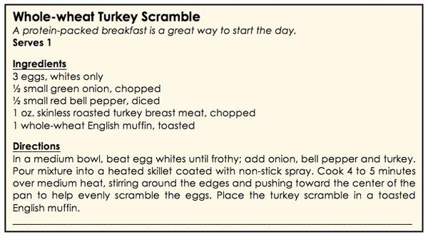 whole-wheat turkey scramble