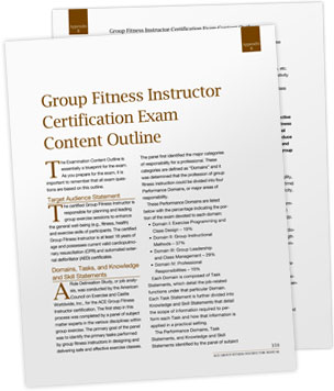Group Fitness Instructor Exam Content Outline