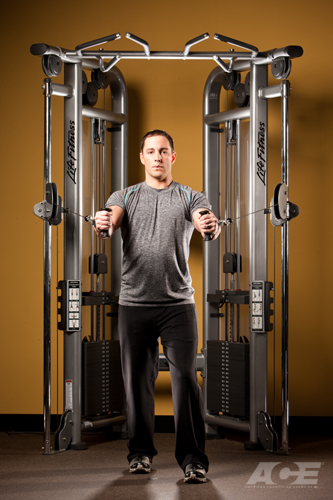 ace fit chest exercises standing cable flyers. Black Bedroom Furniture Sets. Home Design Ideas