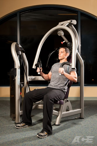 Zip Line Seat >> ACE Fit | Chest Exercises | Seated Close-Grip Chest Press