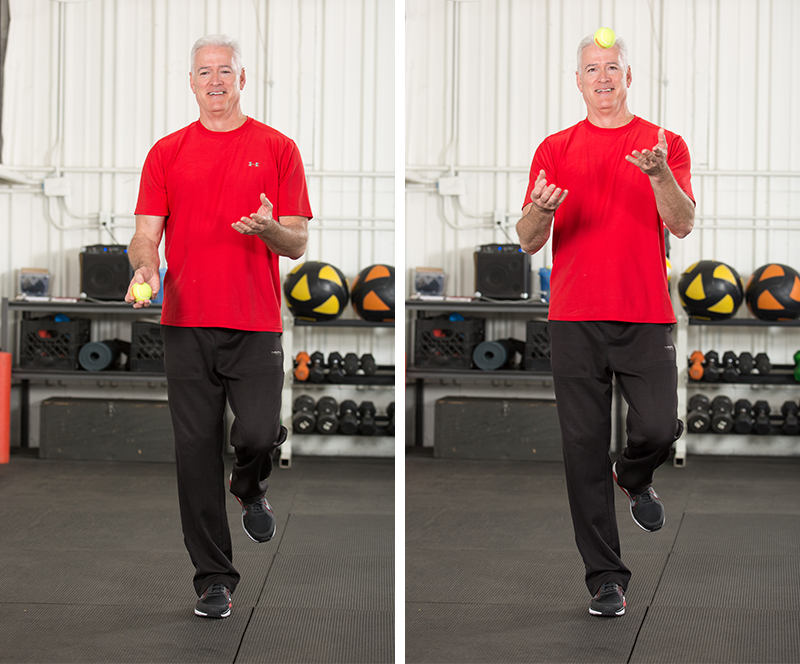 Standing Balance with Ball Tosses