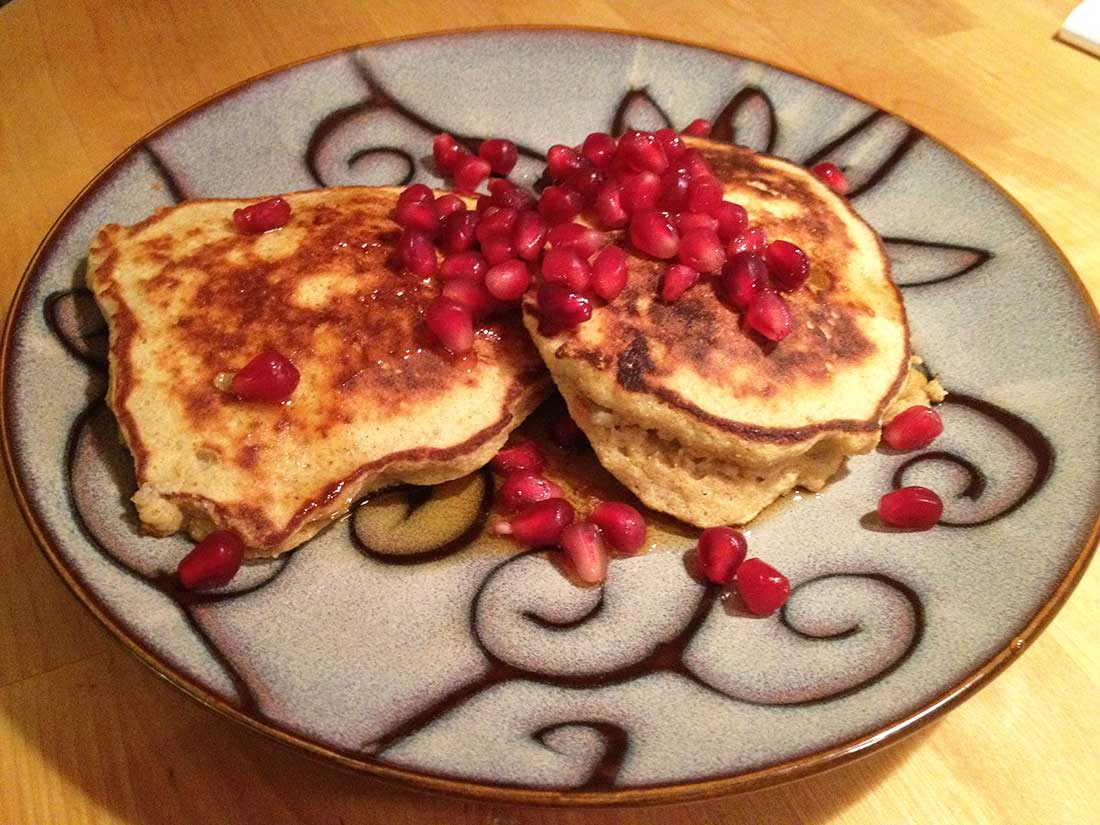 Coconut Flour Pancakes with Pomegranate Seeds