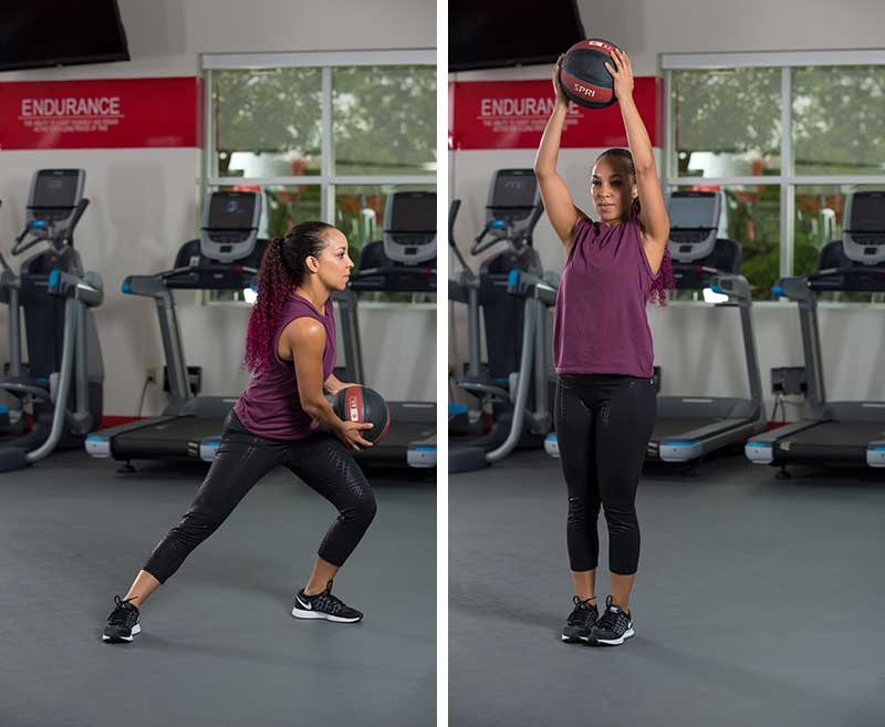Lateral lunch to overhead press with medicine ball