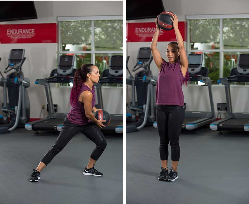 Transverse plane lunge with Medicine Ball