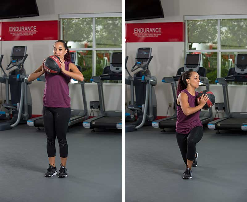 Reverse lunge with rotation with Medicine Ball