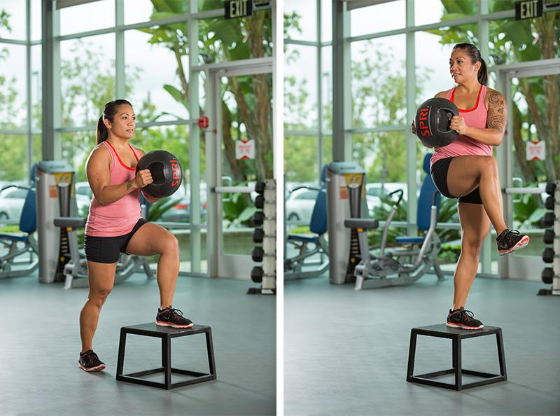 single-leg-step-up-medicine-ball-rotation