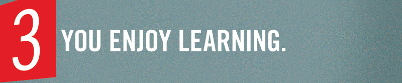 You enjoy learning.
