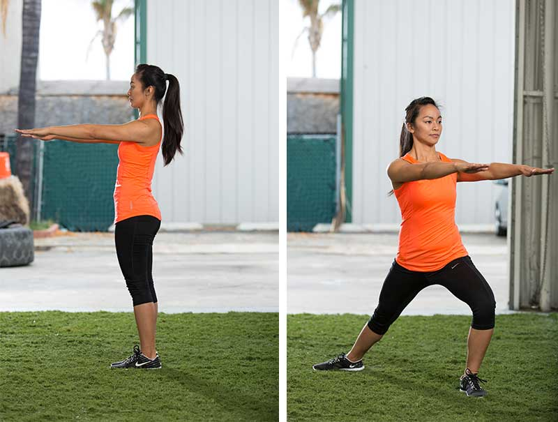 Rotational Lunge With Bilateral Arm Reach at Shoulder Height