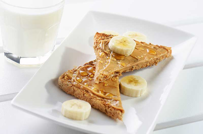 whole-grain toast with peanut butter and a banana