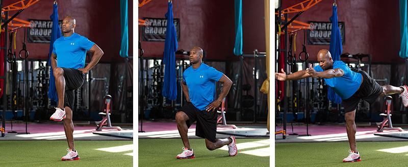 Single-leg Balance to Lunge to Standing Splits