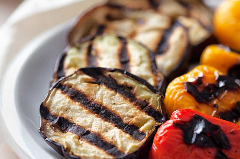 Grilled Eggplant and Pepper Roll-Ups