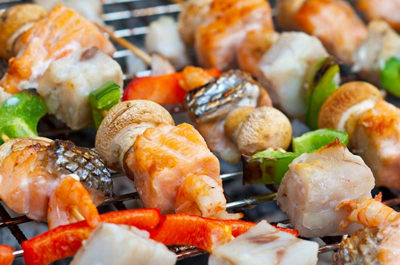 Salmon and Peach Kebabs