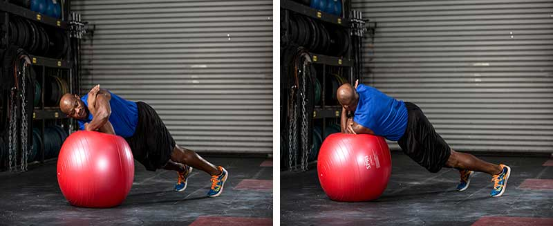 lateral rolling plank on ball