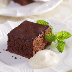 Chocolate-Cinnamon Sheet Cake with Almond Cream