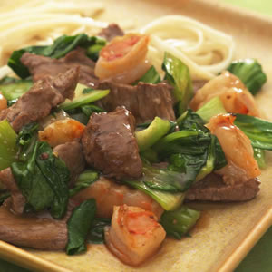 Spicy Beef with Shrimp & Bok Choy