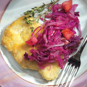 Pork Cutlets with Maple-Spiced Apples & Red Cabbage