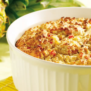 Pineapple & Ham Bread Soufflé