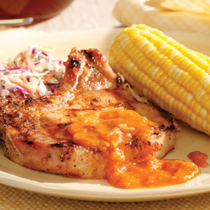 Pork Chops with Peach Barbecue Sauce