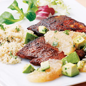 North African Spiced Turkey with Avocado-Grapefruit Relish