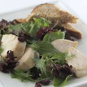 Roasted Chicken Salad with Garlic Toasts