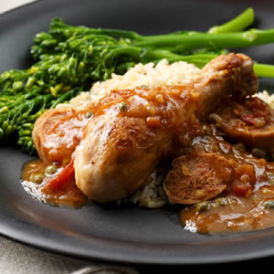 Catalan Sauté of Chicken with Sausage, Capers & Herbs