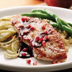 Pomegranate-Glazed Turkey with Roasted Fennel