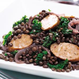 Kale, Sausage & Lentil Skillet Supper